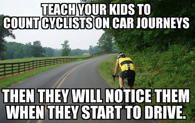 Bike with caption: Teach your kids to count cyclists on car journeys then they will notice them when they start to drive.